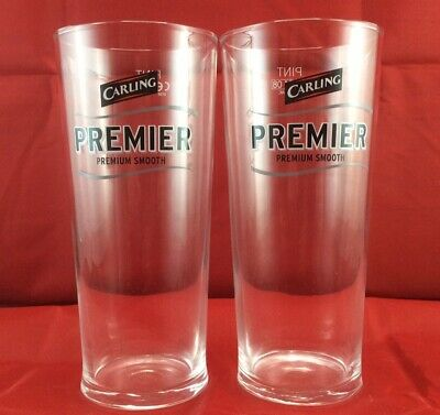 Carling Premier Lager Pint Glasses X2 New And Unused CE/Crown Marked • 9.95£