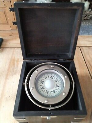 Ships Gimbaled Compass In Box,Superb Display Item ,Highly Polished Chrome Body. • 15£