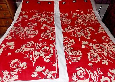 Sandown & Bourne, Red & White, Modern Floral, Lined Eyelet Curtains, 45''W X 54L • 24.99£