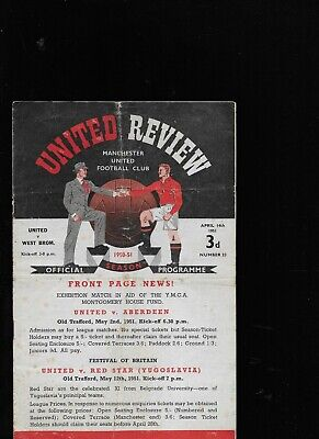 MANCHESTER UNITED V WEST BROMWICH ALBION 14-4-1951 • 7.99£