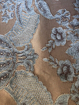 Exceptionall Quality Heavy Cut Velvet Fabric Gold, Brown And Duck Egg Blue 4m70 • 45£