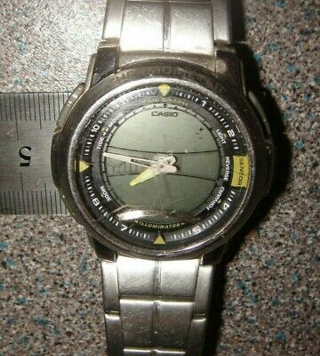 CASIO WATCH. Thermometer Moon & Tide Graph World Time • 9.99£