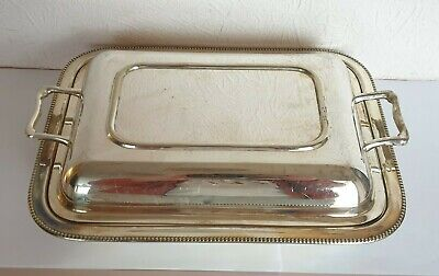 Antique Silver Plate Lidded ENTREE SERVING DISH TUREEN - S.J Levi Squirrel Brand • 9.99£