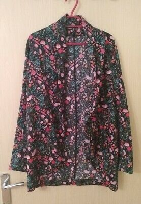 Black Floral Waterfall Jacket Cuffed Three Quarter Sleeves Size 8 • 1£