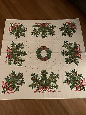 $ CDN7.83 • Buy Retro 50s Square Cotton TABLECLOTH White&Red Wreaths Christmas Vintage The Ryans