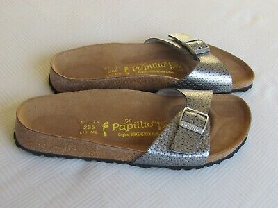 NEW Papillio By Birkenstock Ladies Silver Mules Sandals UK Size 7.5 EU 41 • 42.99£