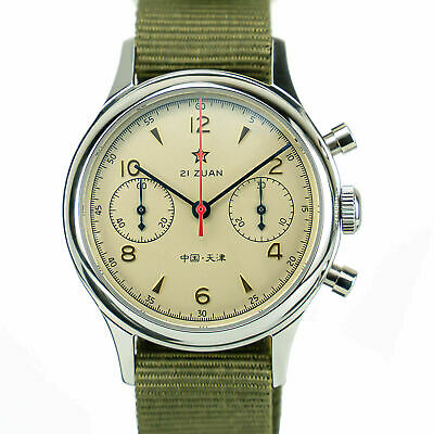 $ CDN147.01 • Buy Seagull 1963 Watch Chronograph Movement Nylon Leather Strap Vintage Sapphire