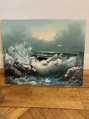 Vintage Retro Oil On Board Painting Ocean Sea Primitive Outsider Art Not Signed • 19.99£