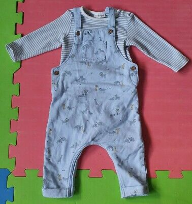 Baby Boys Next Sky Blue Dungarees Top Set With Animal Print Size 3-6 Months • 8£
