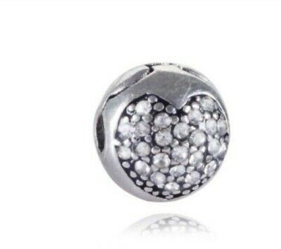 Pandora Silver Clear Crystal Safety Anti-Drop-Clip Buckle Charm Bead Stopper • 6£