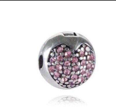 Pandora Silver Pink Crystal Safety Anti-Drop-Clip Buckle Charm Bead Stopper • 6£
