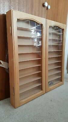 Solid Wood Wall Display Cabinet With Shelves And Two Glass Hinged Doors • 60£
