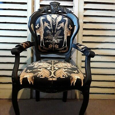 French Style Carver Chair Reupholstered In Wild Africa Velvet Free Delivery • 245£