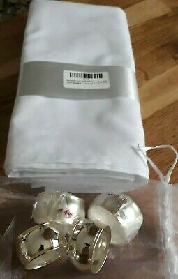 Xmas Set Of 4 - Napkins White Ivy Leaf Table Linen & Silver/gold Rings Gift Bag • 12£