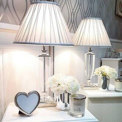 Laura Ashley Carson Large Table Lamp Polished Nickel Glass Base Only NEW RRP£125 • 94.95£