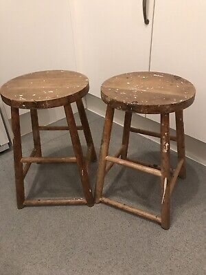 A Pair Of Beech? Lab Stools • 35£