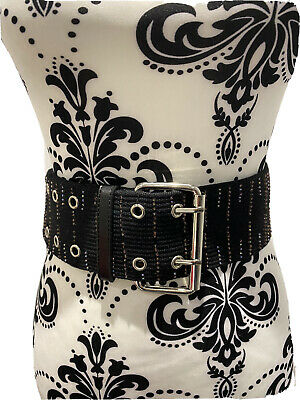 Womans Black Beaded Waist Clincher Belt Silver Multi Eyelet Buckle Wide Thick • 1.50£