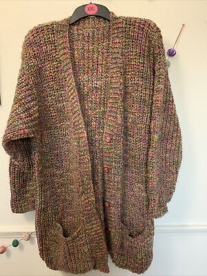 Oversized Slouchy Chunky Hand Knit Multicloured Wool Long Cardi Size 12 14 16 • 7.99£
