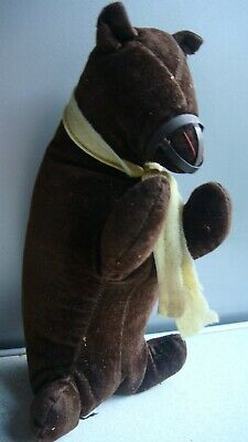 Antique Small Brown Velvet Bear Sawdust Filled With Muzzle • 20£
