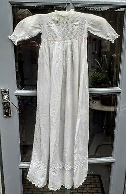 Vintage Traditional Cotton  Christening Gown Trimmed With Embroidery Anglaise. • 15£
