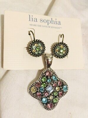 $ CDN12.91 • Buy Lia Sophia Slide Pendant Earrings Lot Rhinestones Silver Tone