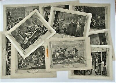 William Hogarth, Industry & Idleness, Set Of 12 Original Prints, Engraved 1747 • 280£