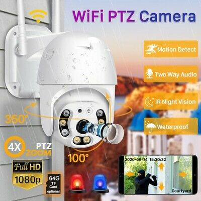 1080P WiFi IP Camera Two Way Audio Auto-Tracking PTZ CCTV Security Speed Dome UK • 34.79£