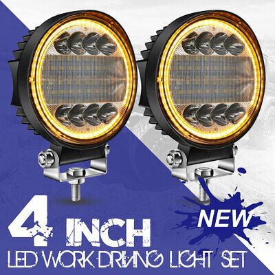 AU38.99 • Buy Pair 4  Inch Round LED Work Lights Spot Flood Offroad Driving Fog Amber VS 5INCH