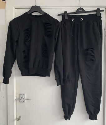 Womens Fashion Tracksuit Set Size M (small Side) Black With Slashes • 3.20£