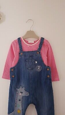 ♡ Next ♡ New Beautiful Giraffe Denim Dungarees Set 12-18 Months Girls Trousers • 13.90£