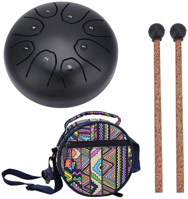 Steel Hand Drum Tongue Drum With Baton For Meditation Yoga Sound Healing Coffee • 90.99£