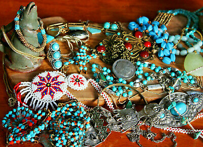 $ CDN7.77 • Buy NICE Vintage Southwest Jewelry Lot Silver Pewter Turquoise Wear 2+ Lbs Pounds