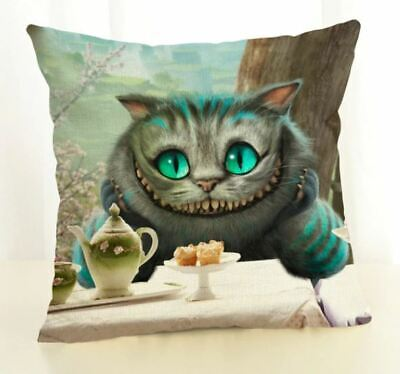Steampunk  Alice In Wonderland Cat Cushion Cover 18x18 Linen Tea Party • 6.75£