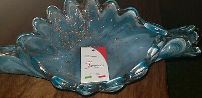 Murano Glass Bowl In Green And Gold • 5£