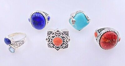 $ CDN175.46 • Buy Signed Noa Thailand Sterling Silver 925 Turquoise Coral Lapis Lazuli 5 Rings Lot
