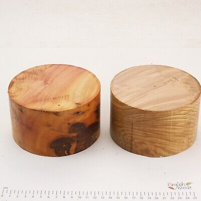 2 English Yew And Crotch Olive Ash Wood Turning Bowl Blanks.  130 X 77mm.  6126A • 8.50£
