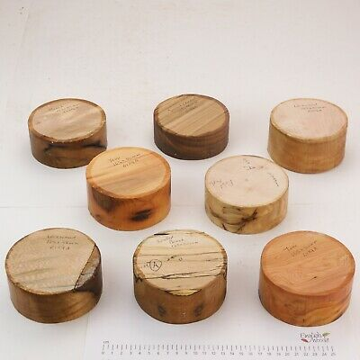 8 English Wood Turning Bowl Blanks. Yew, Beech, Lacewood.  105 X 40-50mm.  6129A • 5.50£