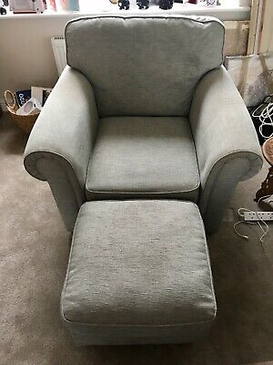 Marks And Spencer Duck Egg Blue Armchair And Poof Collection Only • 50£