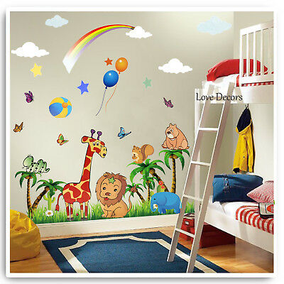 Animal Wall Stickers Decals Jungle Zoo Lion Owl Nursery Baby Kids Bedroom Art • 14.89£