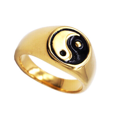 Stainless Steel High Polished Carved Yin Yang Tai-Chi Daoist Philosophy Ring • 4.30£
