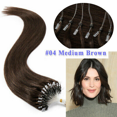 16  #04 Brown 100s Easy Loop Micro Ring Bead Russian Remy Human Hair Extensions • 11.99£