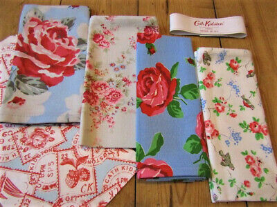 4x New Cath Kidston Mixed Pattern Cotton Napkins & Paper Gift Bag  Rose & Bird • 17.90£