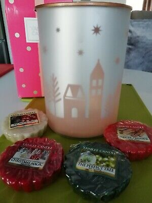 Yankee Candle Xmas Winter Village Rose Gold Gift Set Warmer Burner & 4 Wax Melts • 15£