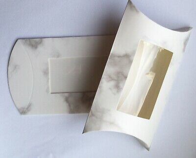 TWO White Marbled Pillow Gift Boxes 14x11cm With Window For Crafts/small Gifts • 2.99£
