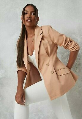 £19.97 • Buy Miss Guided Camel Oversized Blazer Double Breasted Size 8 Metallic Button RRP£40