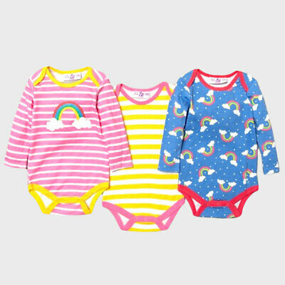 3 PACK BABY Girl Long Sleeve Rainbow Print Cotton Bodysuits Vests, Lily & Jack • 7.95£