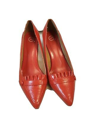 Evans Orange Faux Leather Pointy Toe Wood Effect Cone Heels Shoes Size 7W UK • 9.99£