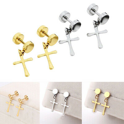 2 Pairs Mens Stud Earrings Fake Plugs Cheater Illusion Ear Gauges Tunnel • 4.08£