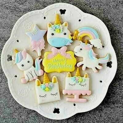 AU14.95 • Buy Aus Stock..UNICORN Cookie Cutters 8 PC SET No.1..Fondant Mould Decorating Icing