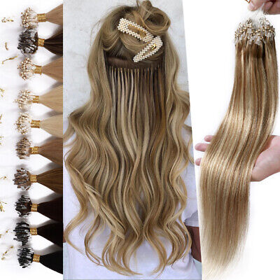 Russian Micro Ring Loop 100% Remy Human Hair Extensions Micro Links Long 16 -24  • 22.73£